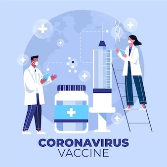 Flat-hand drawn coronavirus vaccine background with syringe and doctors