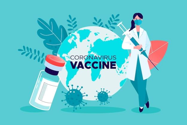 플랫 손으로 그린 코로나 바이러스 백신 배경