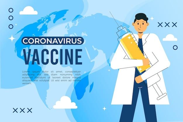 Плоский рисованной фон вакцины против коронавируса