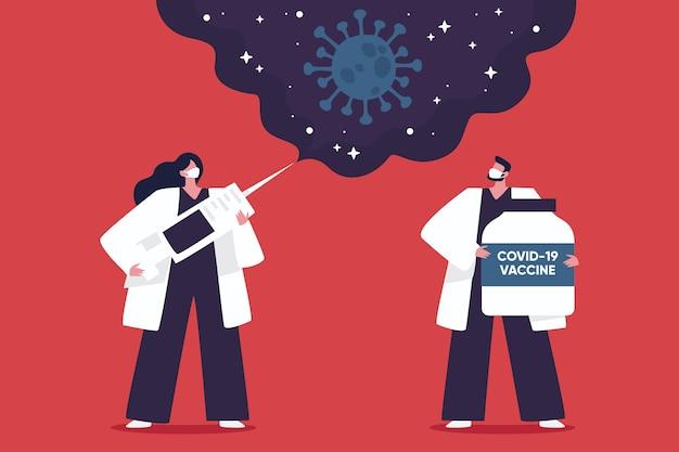 Flat-hand drawn coronavirus vaccine background