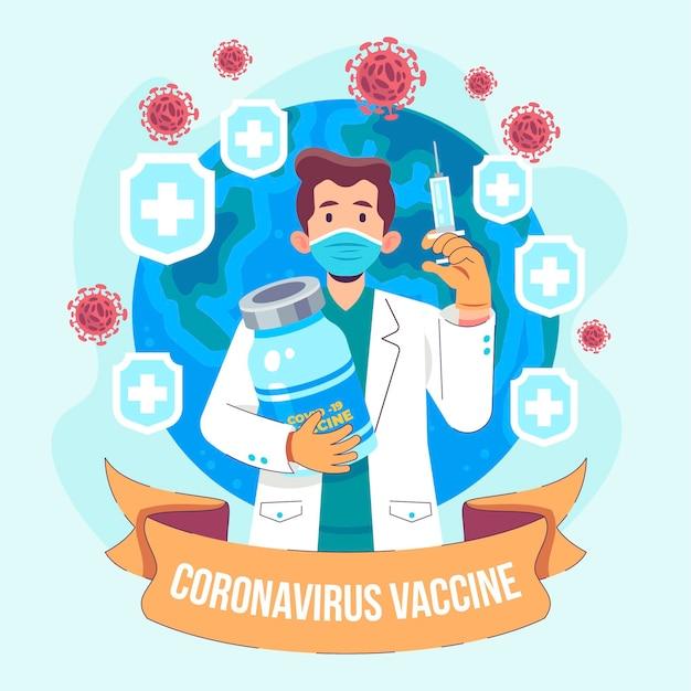 フラット手描きコロナウイルスワクチンの背景