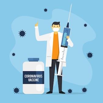 フラット手描きコロナウイルスワクチンイラスト