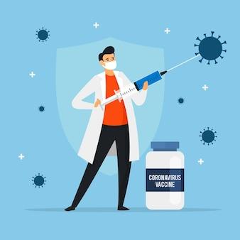 Плоская рисованная иллюстрация вакцины против коронавируса
