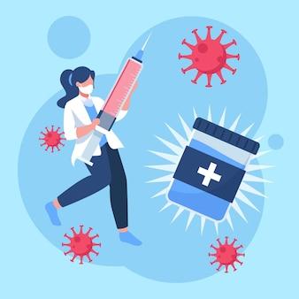 평면 손으로 그린 코로나 바이러스 백신 그림