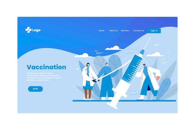 Flat-hand drawn coronavirus vaccine landing page template