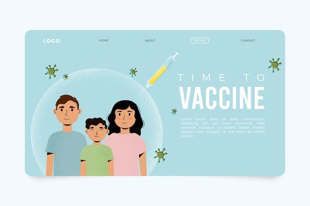 Modello di pagina di destinazione del vaccino contro il coronavirus disegnato a mano piatta