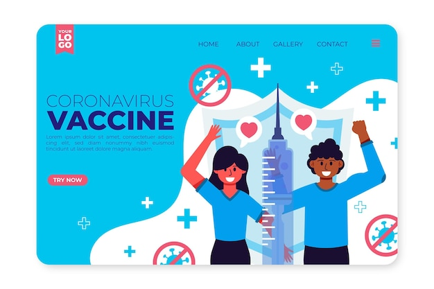 平らな手描きのコロナウイルスワクチンのランディングページテンプレート