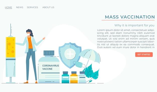 Modello di pagina di destinazione del vaccino contro il coronavirus disegnato a mano piatta Vettore gratuito