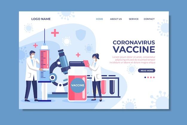 Pagina di destinazione del vaccino contro il coronavirus disegnata a mano piatta Vettore gratuito
