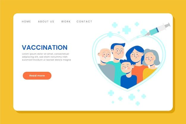 平らな手描きのコロナウイルスワクチンのランディングページ