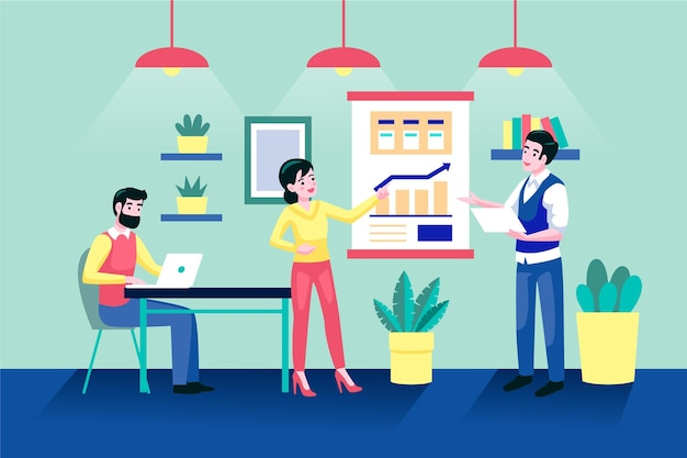 Flat-hand drawn coworking space illustration