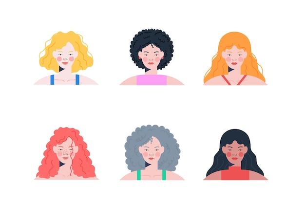 Raccolta di tipi di capelli ricci disegnati a mano piatta