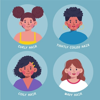 Set di tipi di capelli ricci disegnati a mano piatta