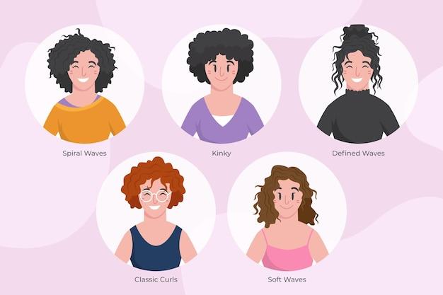 Tipi di capelli ricci disegnati a mano piatta con le donne