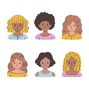 Flat-hand drawn curly hair types with women