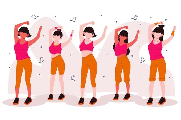 사람들과 평면 손으로 그린 댄스 피트니스 클래스 그림