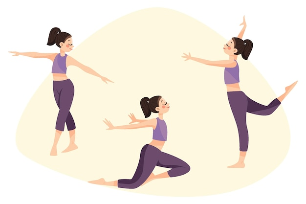 Flat-hand drawn dance fitness class illustration
