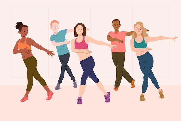 Flat-hand drawn dance fitness class illustration