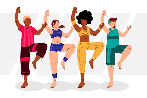 사람들과 평평한 손으로 그린 댄스 피트니스 클래스