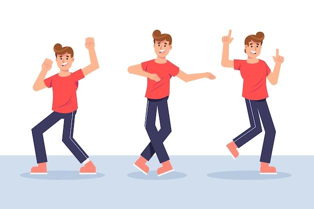 사람들과 평면 손으로 그린 댄스 피트니스 단계 컬렉션