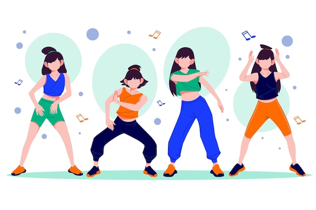 Flat-hand drawn dance fitness steps illustration with people