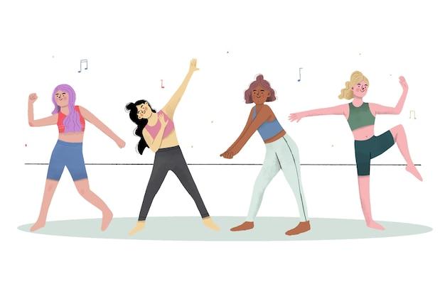 사람들과 평면 손으로 그린 댄스 피트니스 단계 그림