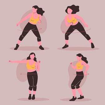 Illustrazione di passi di fitness danza disegnata a mano piatta con persone