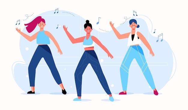 플랫 손으로 그린 댄스 피트니스 단계 그림