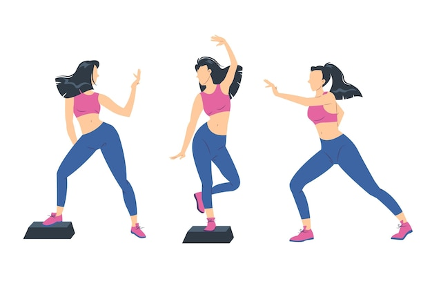 Flat-hand drawn dance fitness steps illustration