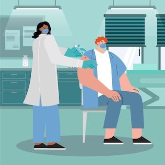 Medico disegnato a mano piatta che inietta il vaccino al paziente