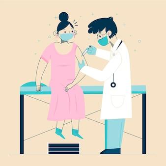 Medico disegnato a mano piatta che inietta il vaccino a un paziente