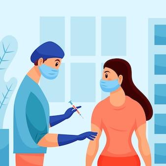 Плоский рисованной доктор вводит вакцину пациенту