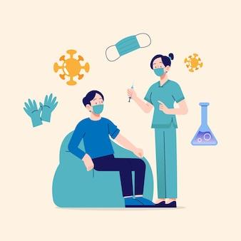 Врач с плоской рукой вводит вакцину пациенту