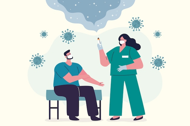 평면 손으로 그린 의사가 환자에게 백신을 주입
