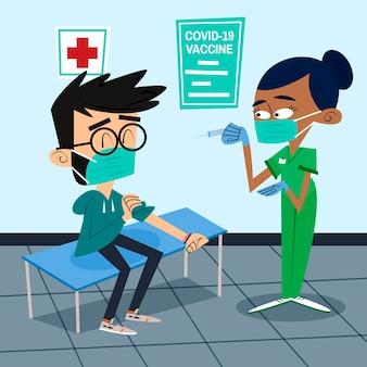 患者にワクチンを注射するフラット手描きの医師