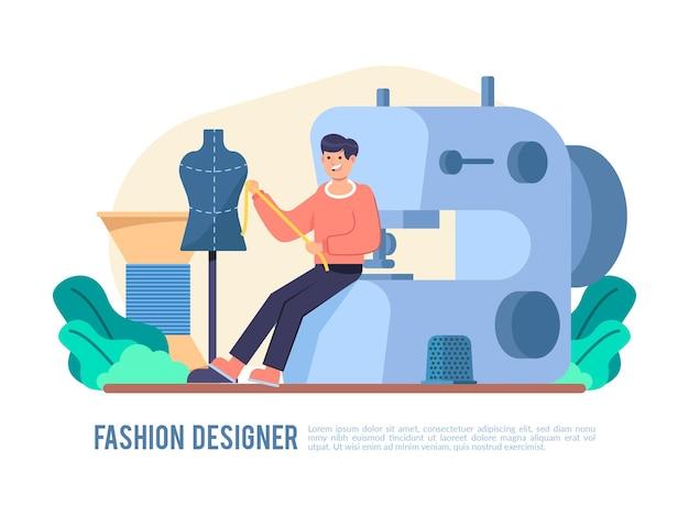Illustrazione disegnata a mano di stilista di moda