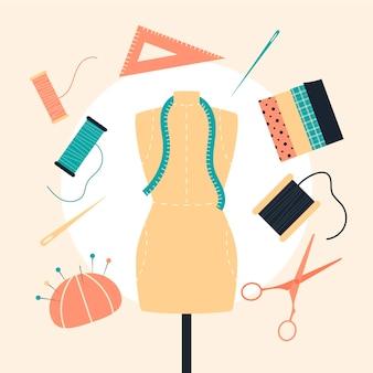フラット手描きのファッションデザイナーのイラスト