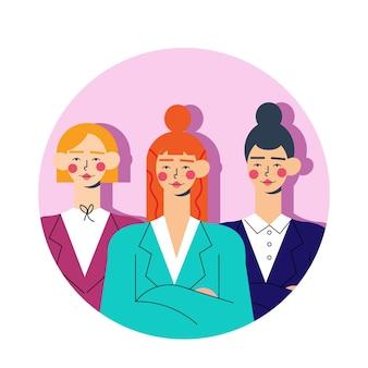 図解フラット手描き女性チームリーダー