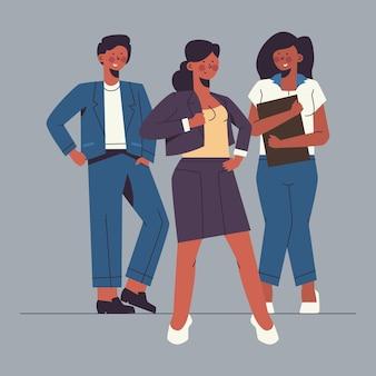 Плоская рисованная иллюстрация лидера женской команды
