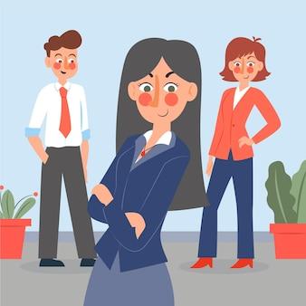 Flat-hand drawn female team leader illustration