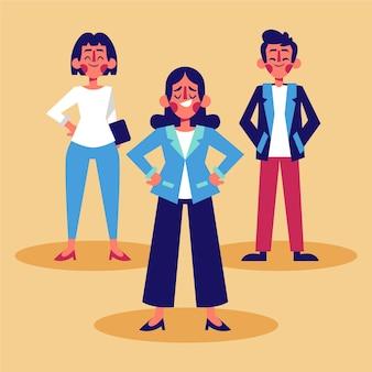 플랫 손으로 그린 여성 팀 리더 그림