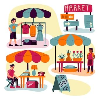 Плоская рисованная концепция блошиного рынка