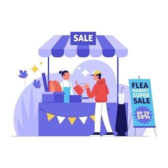 Плоская рисованная иллюстрация блошиного рынка с людьми