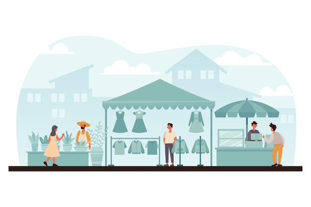 Illustrazione del mercato delle pulci disegnata a mano piatta con le persone