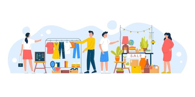 Плоская рисованная иллюстрация блошиного рынка