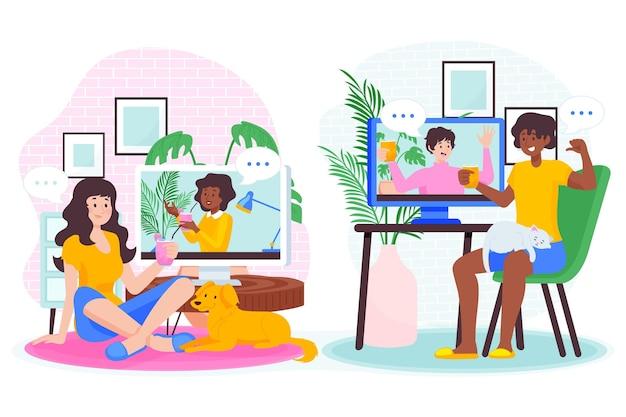 フラット手描きの友達のビデオ会議のイラスト