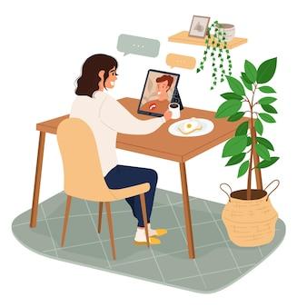 フラット手描きの友達のビデオ会議シーン