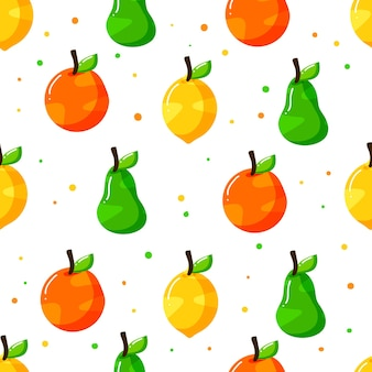 ドットテクスチャとフラット手描きフルーツシームレスパターンデザイン