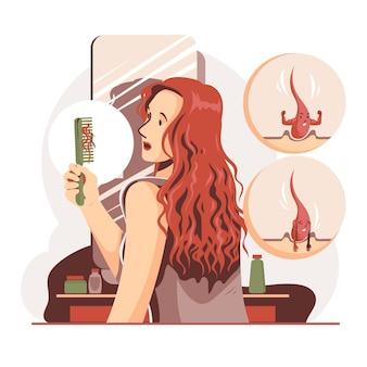 Плоская рисованная концепция потери волос