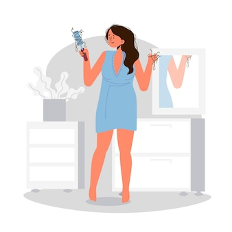 Плоская рисованная иллюстрация выпадения волос с женщиной